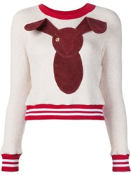 Dominic Louis Bunny Varsity Jumper Nude And Neutrals