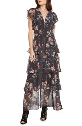 Willow And Clay Floral Tiered Maxi Dress Steel