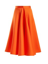 Maison Rabih Kayrouz High Waisted Satin Full Skirt Orange