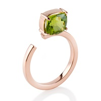 Myriamsos The Top Stone Ring Rose Gold Green