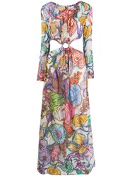 Daizy Shely Expressionist Floral Printed Maxi Dress Purple