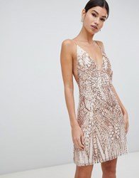 Love Triangle Sequin Embellished Cami Dress In Rose Gold Rose Gold Nude Pink