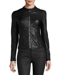 Joan Vass Faux Leather Moto Jacket Black