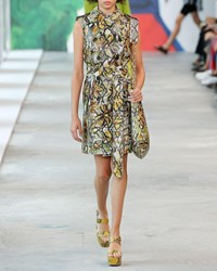 Michael Kors Belted Floral Painted Python Trench Vest Multi Pattern