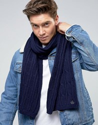 French Connection Cable Scarf Blue Black