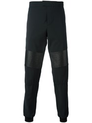 Les Hommes Cuffed Trousers Men Lamb Skin Polyester Spandex Elastane Virgin Wool 46 Black
