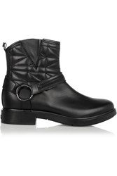 Karl Lagerfeld Quilted Leather Ankle Boots Black
