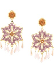 Mercedes Salazar Floral Drop Earrings Pink