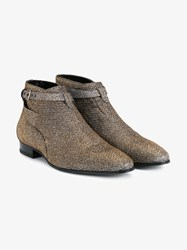 Saint Laurent London 20 Jodhpur Cropped Lurex Boots Silver Almond Denim