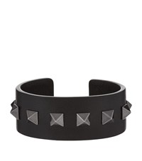 Valentino Garavani Medium Leather Cuff Bracelet Black