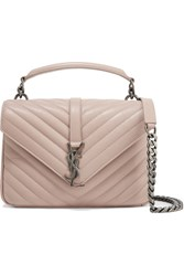 Saint Laurent College Medium Quilted Leather Shoulder Bag Blush