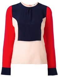 Paul Smith Ps By Color Block Blouse Women Silk 40
