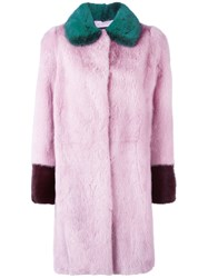 Liska Colour Block Mink Fur Coat Pink And Purple