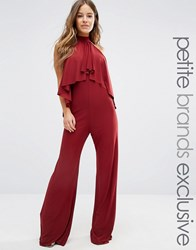 John Zack Petite High Neck Jumpsuit With Ruffle Front Detail Chocolate Brown