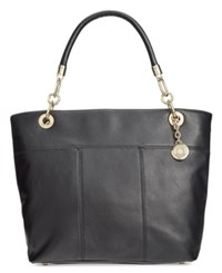 Tommy Hilfiger Pebble Leather Top Zip Tote Black