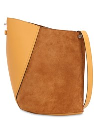 Lanvin Asymmetrical Suede And Leather Bucket Bag Honey