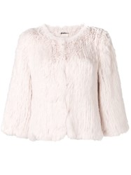 Yves Salomon Cropped Jacket Pink And Purple