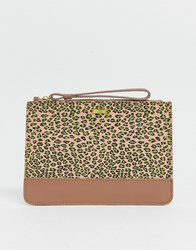 Maison Scotch Leopard Print Leather Clutch Brown