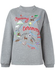 Opening Ceremony Map Embroidery Sweatshirt Grey