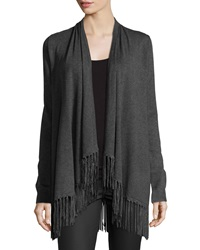 Chelsea And Theodore Fringe Trim Open Front Cardigan Heather Gr