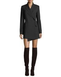 Helmut Lang Deconstructed Double Breasted Wool Blazer Black