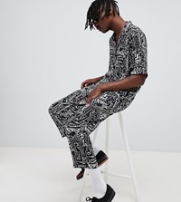 Reclaimed Vintage Inspired Face Print Trousers Black
