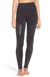 Alo Yoga Women's High Waist Moto Leggings Black Black Glossy