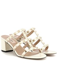 Valentino Garavani Rockstud Patent Leather Sandals White
