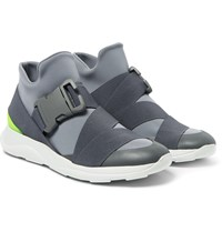 Christopher Kane Neoprene Leather And Rubber High Top Sneakers