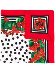Dolce And Gabbana Printed Scarf Red