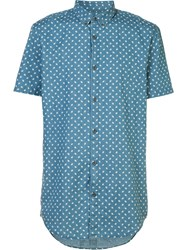 Zanerobe Printed Shortsleeved Shirt Blue