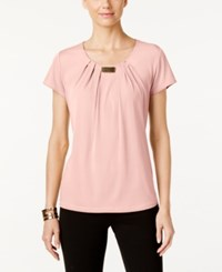 Ny Collection Pleated Hardware Trim Top Blossom