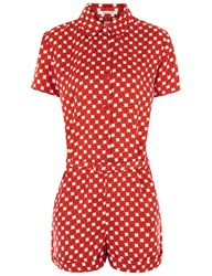 Carven Red Silk Twill Printed Playsuit Multi
