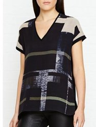 Jigsaw Cyanograph Block Silk Print Knitted Top Black