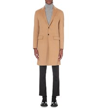 Joseph Single Breasted Wool And Cashmere Blend Coat Camel