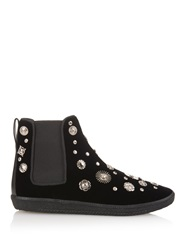 Toga Charm Embellished Velvet High Top Trainers