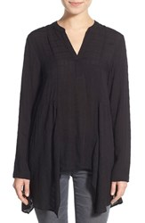 Junior Women's Socialite Shark Bite Hem Oversize Henley Black