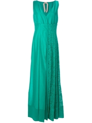 N 21 N.21 Pleated Lace Panel Gown Green