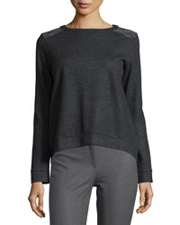Brunello Cucinelli Cashmere Monili Shoulder High Low Sweatshirt Volcano