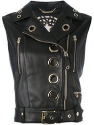Philipp Plein Addison Biker Gilet Women Sheep Skin Shearling S Black