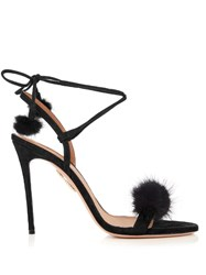 Aquazzura Wild Russian Fur And Suede Sandals Black