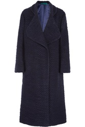 Emilia Wickstead Oversized Boucle Coat Blue
