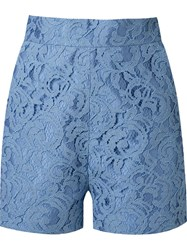 Martha Medeiros High Waist 'Marescot' Lace Shorts Blue