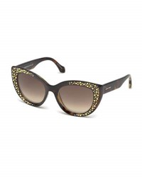 Roberto Cavalli Studded Gradient Cat Eye Sunglasses Brown Tortoise Multi