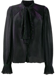 Marco De Vincenzo Pleated Neck Tied Blouse Green