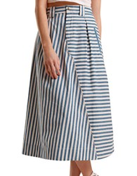 Rachel Antonoff Phyliss Cargo Midi Skirt Blue White