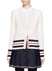 Thom Browne Stripe Cuff Cashmere Cable Knit Cardigan White