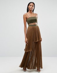 Aq Aq 2 In 1 Maxi Dress With Pleated Skirt Military Green Mil