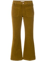 See By Chloe Cropped Corduroy Trousers Cotton Spandex Elastane Brown