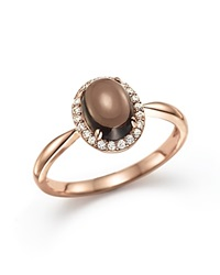 Bloomingdale's Smokey Topaz Cabochon And Diamond Oval Ring In 14K Rose Gold Brown Rose